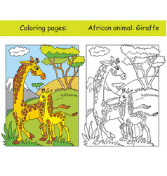 coloring and color giraffe vector image