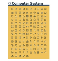 Computer system icon set vector image