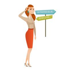 Confused woman choosing career pathway vector