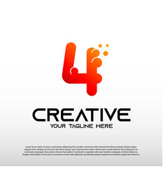Creative logo with initial number four 4 vector