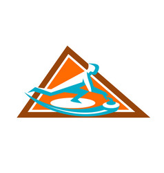 Curling player sliding stone triangle icon vector