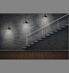 Dark brick wall and prison or loft interior vector