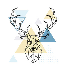 Deer polygonal head scandinavian style vector