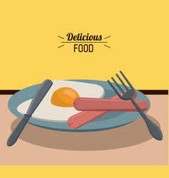 delicious food fried egg sausage and fork knife vector image