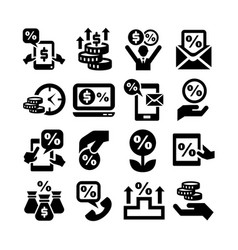 Deposit icons set vector