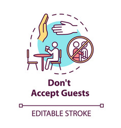 Dont accept guests concept icon self-isolation vector