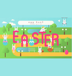 easter egg hunt on park map vector image