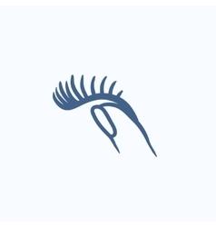False eyelashes sketch icon vector