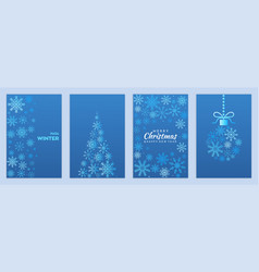 festive set of greeting postcards with merry vector image