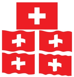 Flat and Waving Flag of Switzerland vector