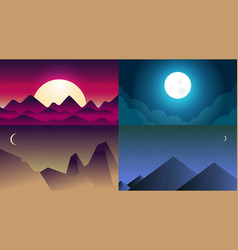 flat banners set with landscape background vector image