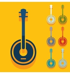 Flat design banjo vector