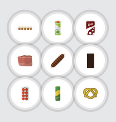 Flat icon food set of confection tomato cookie vector