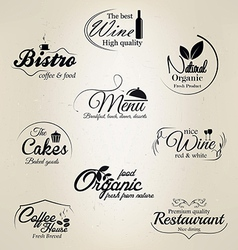 food and drink labels vector image