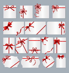 gift card frames red ribbons gift banners vector image