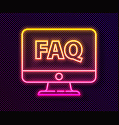Glowing neon line computer monitor and faq icon vector