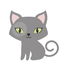 Gray small cat sitting green eyes tail spiral vector