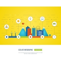 Green eco city infographic ecology concept vector