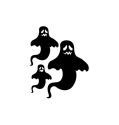 Halloween mysterious ghosts isolated icon vector