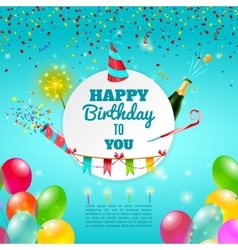 happy birthday celebration background poster vector image