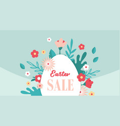 happy easter banner with flowers and easter egg vector image