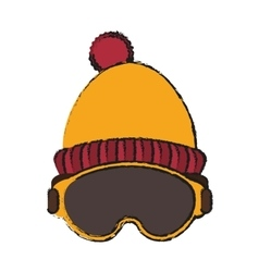 Hat and glasses of winter cloth design vector