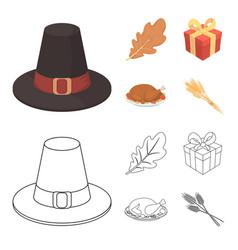 hat of a pilgrim oak leaf gift in a box fried vector image