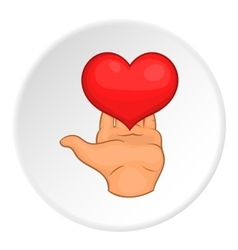 Heart on hand icon flat style vector