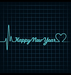 heartbeat make happy new year text vector image