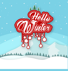 Hello winter white snow background image vector