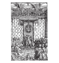 Henry viii in council is an engraving print from vector