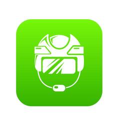 Hockey helmet icon green vector