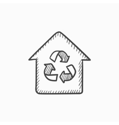 House with recycling symbol sketch icon vector image