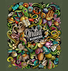 india hand drawn doodles vector image