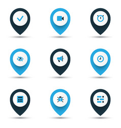 Interface icons colored set with stopwatch video vector