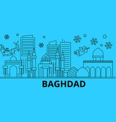iraq baghdad winter holidays skyline merry vector image