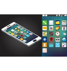 isometric generic smartphone and interface vector image