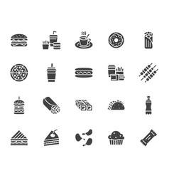 Junk food flat glyph icons set burger fast vector
