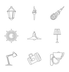 Lighting icon set outline style vector