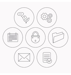 Lock folder hand and e-mail icons vector