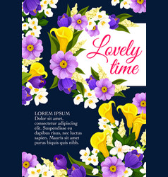 Lovely spring time flowers blooming poster vector