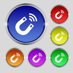 Magnet icon sign Round symbol on bright colourful vector