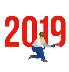 man with sprayer writes number 2019 vector image