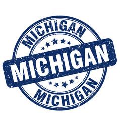 Michigan blue grunge round vintage rubber stamp vector