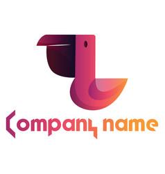 minimalistic logo design pink pelican and vector image