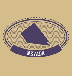 Nevada map silhouette - oval stamp of state vector