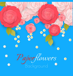paper flower realistic style pink vector image