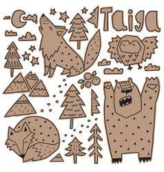 paper stickers forest animals and nature vector image