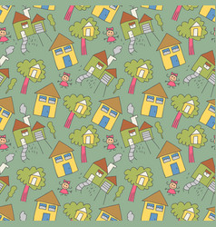 pattern seamless kids with daughter doodle vector image