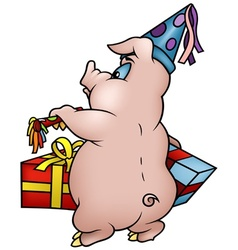 Piglet And Gifts vector image